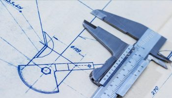Blueprint with calipers background