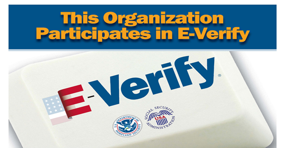 E-Verify logo with words This Organization Participates in E-Verify