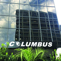 Close-up of Columbus sign on Pasadena, CA facility